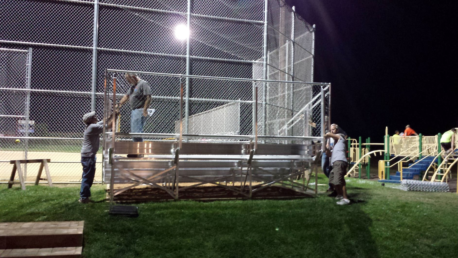 Softball Bleacher Setup